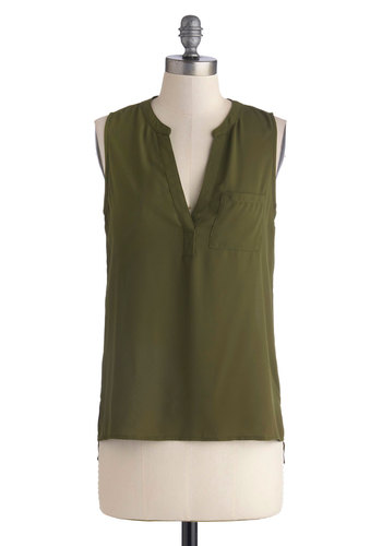 Have Your Herb? Top - Green, Solid, Pockets, Sleeveless, Good, Chiffon, Sheer, Woven, Mid-length, Casual, V Neck, Green, Sleeveless