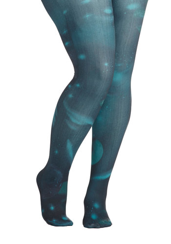 Intergalactic Odyssey Tights in Turquoise - Plus Size by Look From London - Blue, Novelty Print, Print, Quirky, Knit, Variation