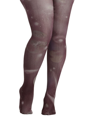 Intergalactic Odyssey Tights in Grey - Plus Size by Look From London - Grey, Novelty Print, Print, Quirky, Sheer