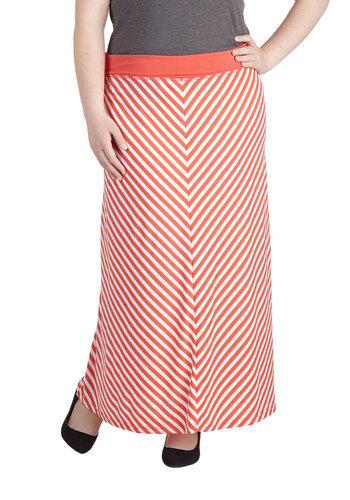 Plane to See Skirt in Plus Size - Jersey, Knit, Coral, White, Stripes, Casual, Maxi, Exclusives