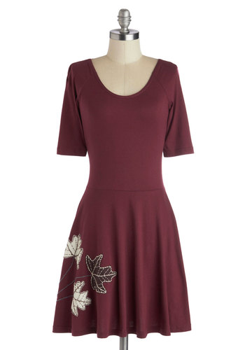 Fond of Foliage Dress - Red, Solid, Embroidery, Casual, Minimal, A-line, Short Sleeves, Better, Scoop, Tan / Cream, Cotton, Knit, Mid-length, Eco-Friendly, Fall