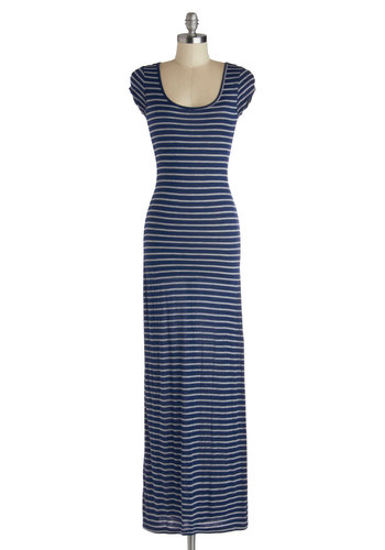 Maxi Relaxin' Dress - Long, Jersey, Knit, Blue, Grey, Stripes, Casual, Maxi, Cap Sleeves, Scoop, Good, Nautical, Summer