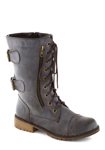 Play a Packed House Boot - Low, Faux Leather, Solid, Casual, Military, Urban, Steampunk, Good, Grey, Buckles, Fall, Lace Up