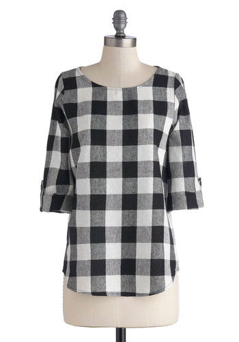 Write All Night Top - Black, White, Casual, 3/4 Sleeve, Better, Mid-length, Woven, Checkered / Gingham, Scoop, Plaid, Black, Tab Sleeve