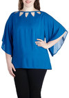 Lunch by the Lake Top in Plus Size by BB Dakota - Woven, Jersey, Blue, Solid, Cutout, Party, Daytime Party, Short Sleeves
