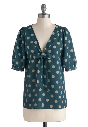 Bubble Tea Break Top - Green, Tan / Cream, Polka Dots, Tie Neck, Work, Short Sleeves, Better, Mid-length, Woven, Vintage Inspired, V Neck