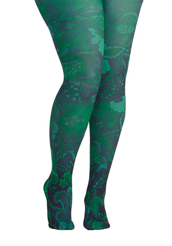 Veranda View Tights in Green - Plus Size by Look From London - Floral, Sheer, Green, Blue, Variation