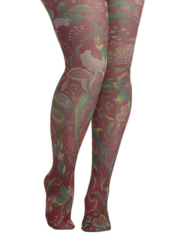 Veranda View Tights in Maroon - Plus Size by Look From London - Sheer, Multi, Red, Green, Pink, Floral, Variation