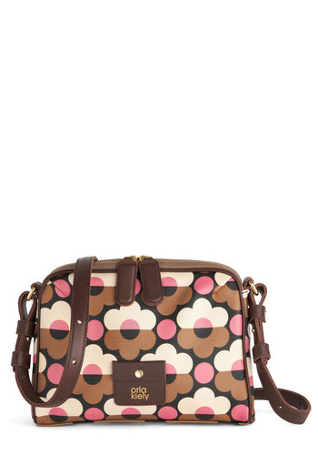 Orla Kiely Groovy Garden Bag by Orla Kiely - Tan, Pink, White, Floral, Vintage Inspired, 60s, Mod, International Designer, Leather, Brown, Work, Faux Leather