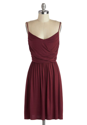 Well How Do You Do? Dress in Burgundy - Mid-length, Jersey, Woven, Red, Solid, Ruching, Casual, Minimal, A-line, Spaghetti Straps, Good, Exclusives, Gifts Sale