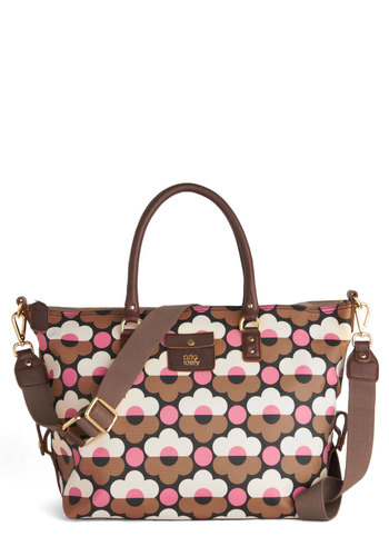 Orla Kiely Groovy Garden Satchel by Orla Kiely - Tan, Pink, White, Floral, Vintage Inspired, 60s, Mod, International Designer, Woven, Work