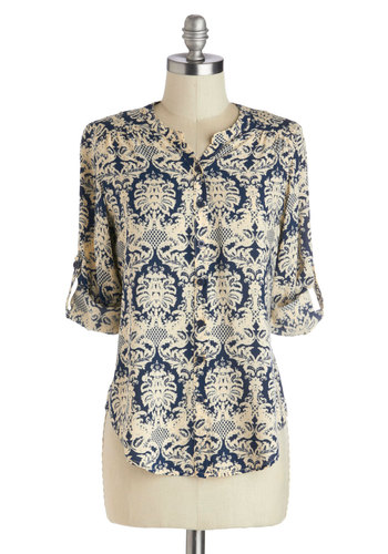 Ogee Whiz Top - Mid-length, Woven, Blue, Tan / Cream, Print, Buttons, Work, Long Sleeve, Casual, Blue, Tab Sleeve