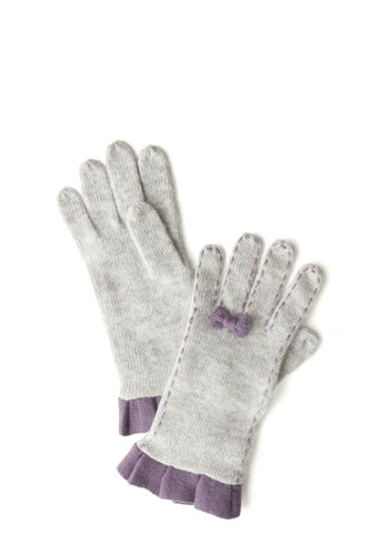 Just So You Bow Gloves - Cream, Purple, Solid, Bows, Pleats, Trim, Fall, Winter, International Designer, Knit, Ruffles