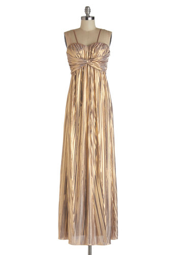Radiant Reception Dress - Gold, Solid, Pleats, Special Occasion, Prom, Holiday Party, Luxe, Maxi, Spaghetti Straps, Better, Sweetheart, Long, Knit