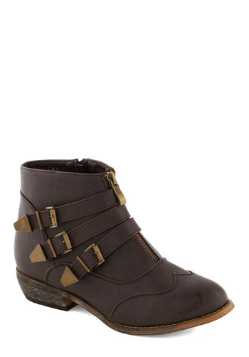 Trail of Your Own Bootie in Brown - Brown, Buckles, Steampunk, Good, Low, Faux Leather, Solid, Casual, Variation, Fall