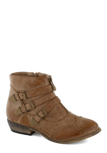 Trail of Your Own Bootie in Tan - Tan, Buckles, Steampunk, Good, Faux Leather, Low, Solid, Casual, Rustic, Variation, Fall