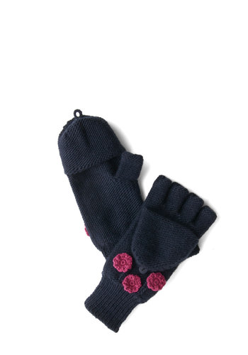 For the Chill of It Convertible Gloves by Tulle Clothing - Blue, Pink, Solid, Flower, Fall, Winter, Knit, Folk Art