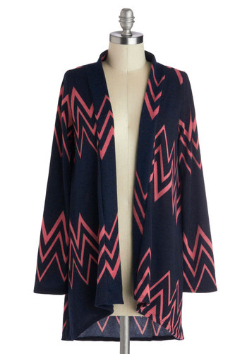 Peaks and Galleries Cardigan - Blue, Pink, Casual, Long Sleeve, Mid-length, Knit, Chevron