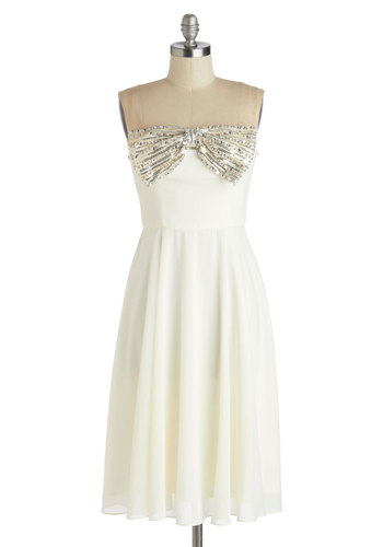 White Tie Optional Dress - White, Solid, Bows, Rhinestones, Sequins, Prom, Party, Strapless, Better, Wedding, Bride, A-line, Long, Chiffon, Woven