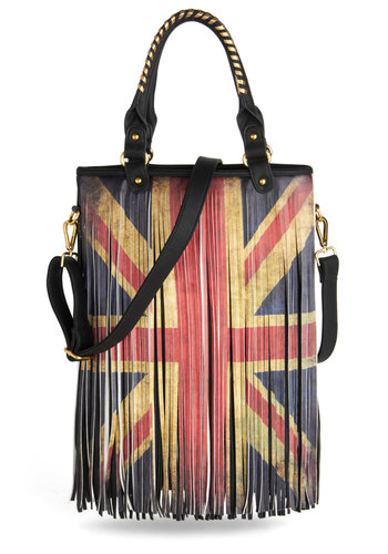 You Got That Swing Bag - Red, Blue, White, Fringed, Faux Leather, Novelty Print, Urban, Statement, Boho