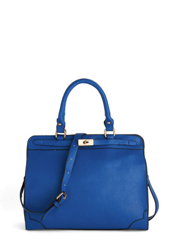 Heading in the Bright Direction Bag - Blue, Gold, Solid, Work, Faux Leather, Minimal