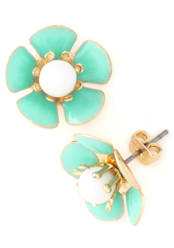 Bedecked with Blooms Earrings - Mint, White, Gold, Solid, Flower, Pastel, Spring, 60s, Work