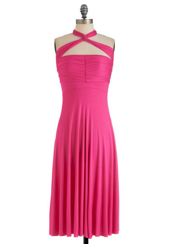 Style-a-Day Dress in Monday Magenta - Pink, Solid, Short, A-line, Halter, Summer, Party, Cocktail, Jersey, Variation
