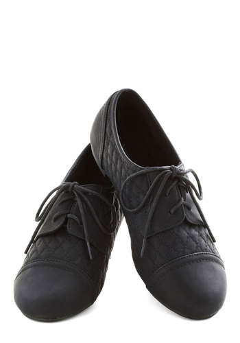 Night Stroll Flat - Flat, Faux Leather, Black, Solid, Quilted, Menswear Inspired, Good, Lace Up, Casual