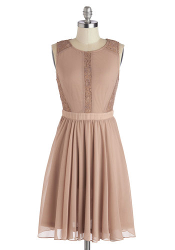 Mauve My Way Dress - Mid-length, Chiffon, Woven, Solid, Lace, Party, A-line, Sleeveless, Better, Scoop, Pink, Wedding, Bridesmaid, Fairytale, Pastel