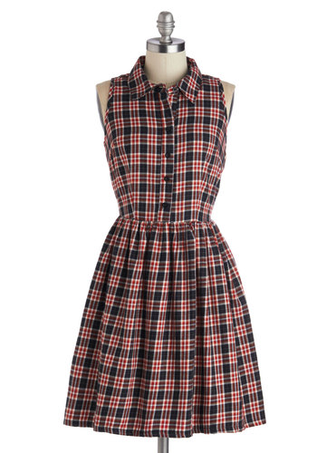 Acoustic Exclusive Dress - Mid-length, Cotton, Woven, Red, Black, Buttons, Cutout, Casual, Shirt Dress, Sleeveless, Better, Collared, Plaid, Scholastic/Collegiate, A-line, Top Rated
