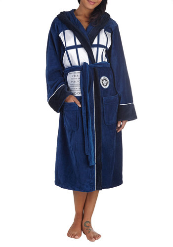 TARDIS 'n' That Robe - Blue, Casual, Travel, Quirky, Scholastic/Collegiate, Hoodie, Long Sleeve, Cotton, White, Novelty Print, Pockets, Belted