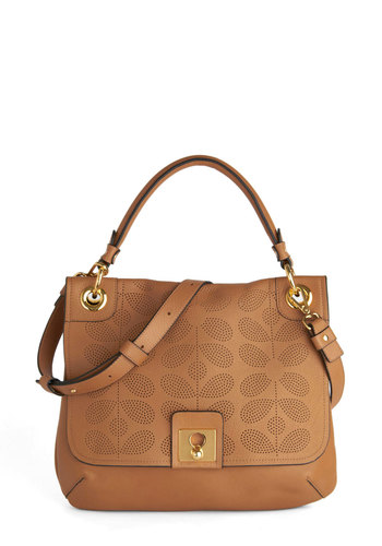 Orla Kiely Posh Prerequisite Bag by Orla Kiely - Tan, Solid, Luxe, Leather, International Designer, Work