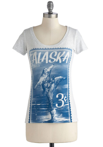 Ice Dancing Top - Mid-length, Jersey, Cotton, Knit, Blue, Print with Animals, Casual, Short Sleeves, Grey, Novelty Print, Quirky, Scoop, Grey, Short Sleeve