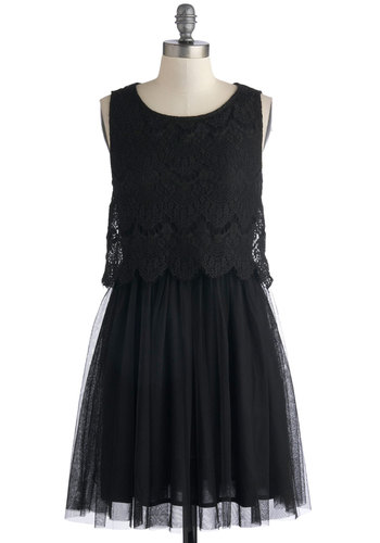 Elegant Intermezzo Dress - Mid-length, Black, Solid, Lace, Tiered, Party, A-line, Tank top (2 thick straps), Better, Scoop, Cocktail, Ballerina / Tutu, Special Occasion, LBD