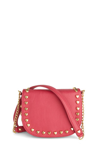 Betsey Johnson After My Heart Bag by Betsey Johnson - Pink, Chain, Studs, Statement, Urban, Solid, Girls Night Out, Faux Leather