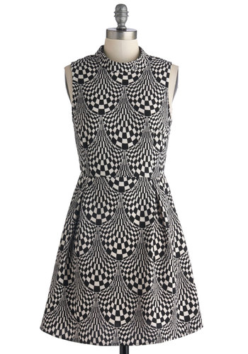 The Music Scene Dress - Black, White, Print, Casual, A-line, Sleeveless, Good, Woven, Mid-length, Urban, Exposed zipper, Statement