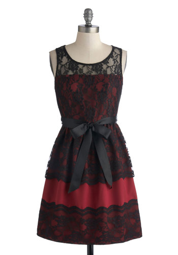 Fancy What I Mean? Dress - Red, Black, Floral, Lace, Belted, Party, Holiday Party, A-line, Sleeveless, Short, Sheer, Knit, Woven, Lace