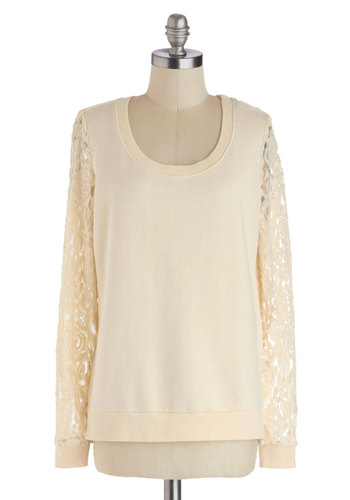 Patio So Sweet Top - Cream, Solid, Lace, Casual, Long Sleeve, Scoop, Cotton, Sheer, Knit, Mid-length, White, Long Sleeve