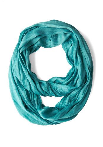 Brighten Up Circle Scarf in Aquamarine - Blue, Solid, Minimal, Good, Variation, Basic, Sheer, Woven, Fall, Winter