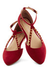 Footwork It Flat - Red, Gold, Studs, Flat, Faux Leather, Good, Urban