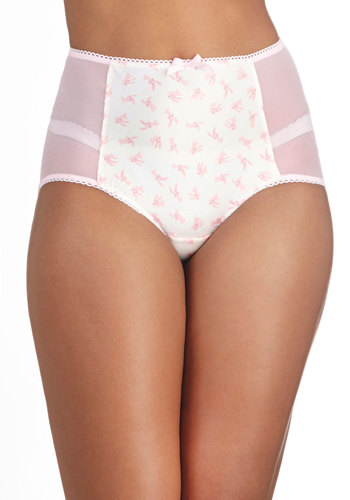 Critter Comforts Undies in Pink Bunny - Pink, White, Print with Animals, Kawaii, Pastel, Quirky, High Waist, Better, Sheer, Knit, Woven, Variation