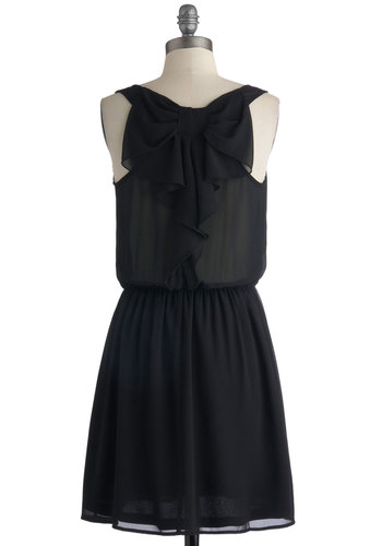 Savor the Simplicity Dress - Black, Solid, Bows, Casual, Minimal, A-line, Tank top (2 thick straps), Good, Scoop, Mid-length, Chiffon, Sheer, Woven, LBD