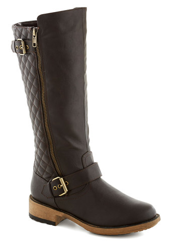 Quite Quilty Boot - Brown, Solid, Buckles, Quilted, Good, Low, Faux Leather, Casual, Fall