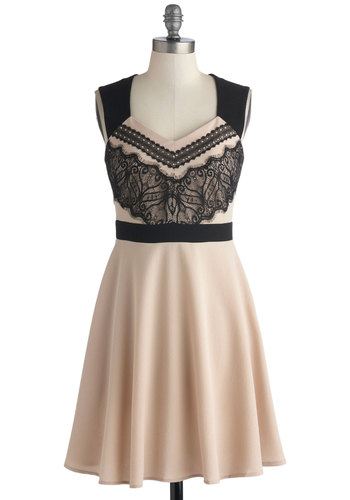 An Elegant Impression Dress - Mid-length, Woven, Tan, Black, Lace, Party, A-line, Sleeveless, Good, V Neck
