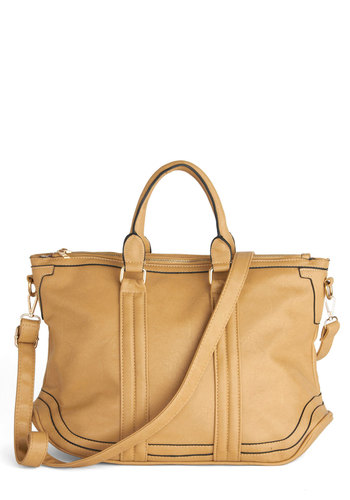 Jet Set to Go Bag - Tan, Solid, Trim, Work, Casual, Faux Leather
