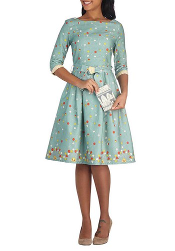 Sweet and Greet Dress - Blue, Multi, Novelty Print, Pockets, Belted, Party, A-line, 3/4 Sleeve, Better, Boat, Long, Cotton, Woven, Green