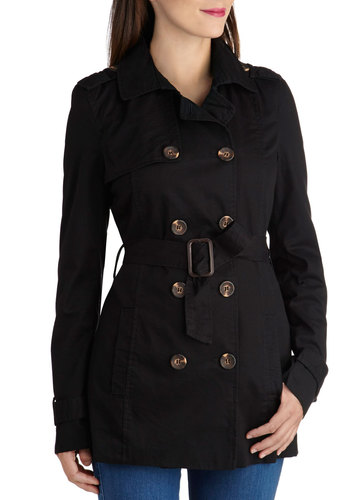 Classic and Chic Trench in Black - Long, Black, Solid, Buttons, Double Breasted, Long Sleeve, 3, Cotton, Epaulets, Menswear Inspired, Black
