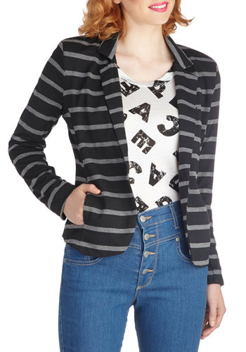 Dressed Down for Drinks Blazer - Mid-length, Black, Stripes, Buttons, Work, Long Sleeve, Pockets, Fall, Multi, 2