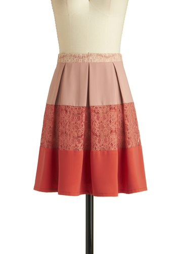 Coral Centerpiece Skirt - Stripes, Lace, Pleats, Daytime Party, A-line, Short, Woven, Coral, Exclusives, Orange, Lace, Spring
