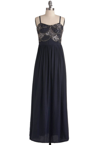 Take in a Show Dress - Blue, Solid, Beads, Sequins, Party, A-line, Spaghetti Straps, Long, Prom, Maxi, Special Occasion